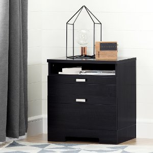 reevo black nightstand with drawers and cord catcher