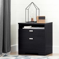 10260  Black Nightstand with Drawers and Cord Catcher - Reevo