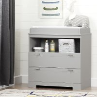 10272 Soft Gray Changing Table with Storage - Reevo