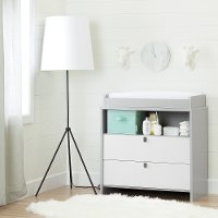 10278 Soft Gray and White Changing Table with Storage - Cookie