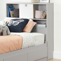 10512 Soft Gray and White Twin Bookcase Headboard (39 Inch) - Cookie