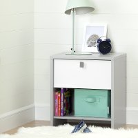 10513 Soft Gray and White Nightstand - Cookie