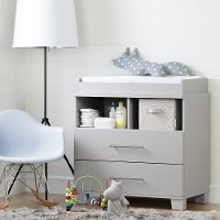 10514 Soft Gray Changing Table Dresser - Cuddly Collection