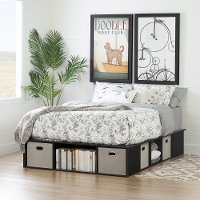 10487 Black Oak Full Size Platform Bed with Storage and Baskets - Flexible