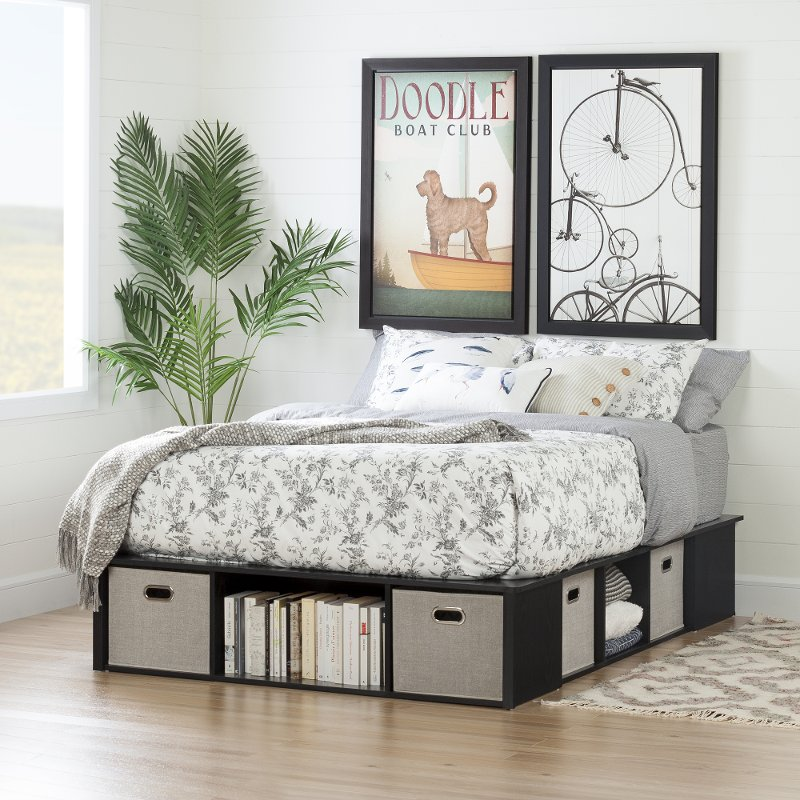 Black Oak Full Size Platform Bed With Storage And Baskets Flexible Rc Willey Furniture