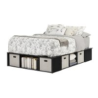 Black Oak Full Size Platform Bed With Storage And Baskets Flexible
