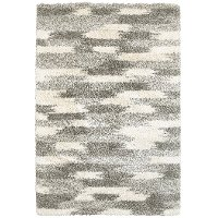 5 x 8 Medium Geometric Shag Gray and Ivory Area Rug - Henderson