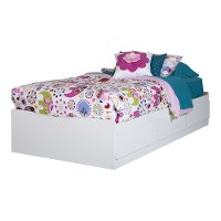 10574 Pure White Twin Mates Bed with 3 Drawers (39 Inch)