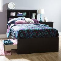 10575 Pure Black Twin Mates Bed with 3 Drawers (39 Inch)