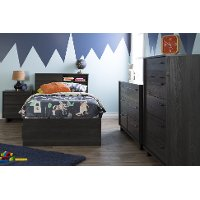 10576 Gray Oak Twin Mates Bed with 3 Drawers (39 Inch)