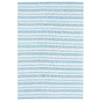 5 x 7 Medium Striped Ivory and Blue Rug - Lily & Liam