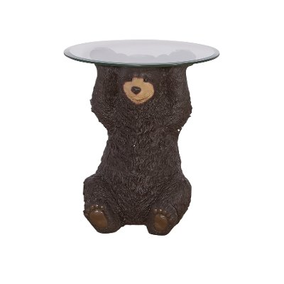 Barney Brown Bear Side Table With Glass Top
