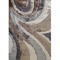 5 x 7 Medium Earth Beige and Gray Shag Rug - Shaggy Viscose Design