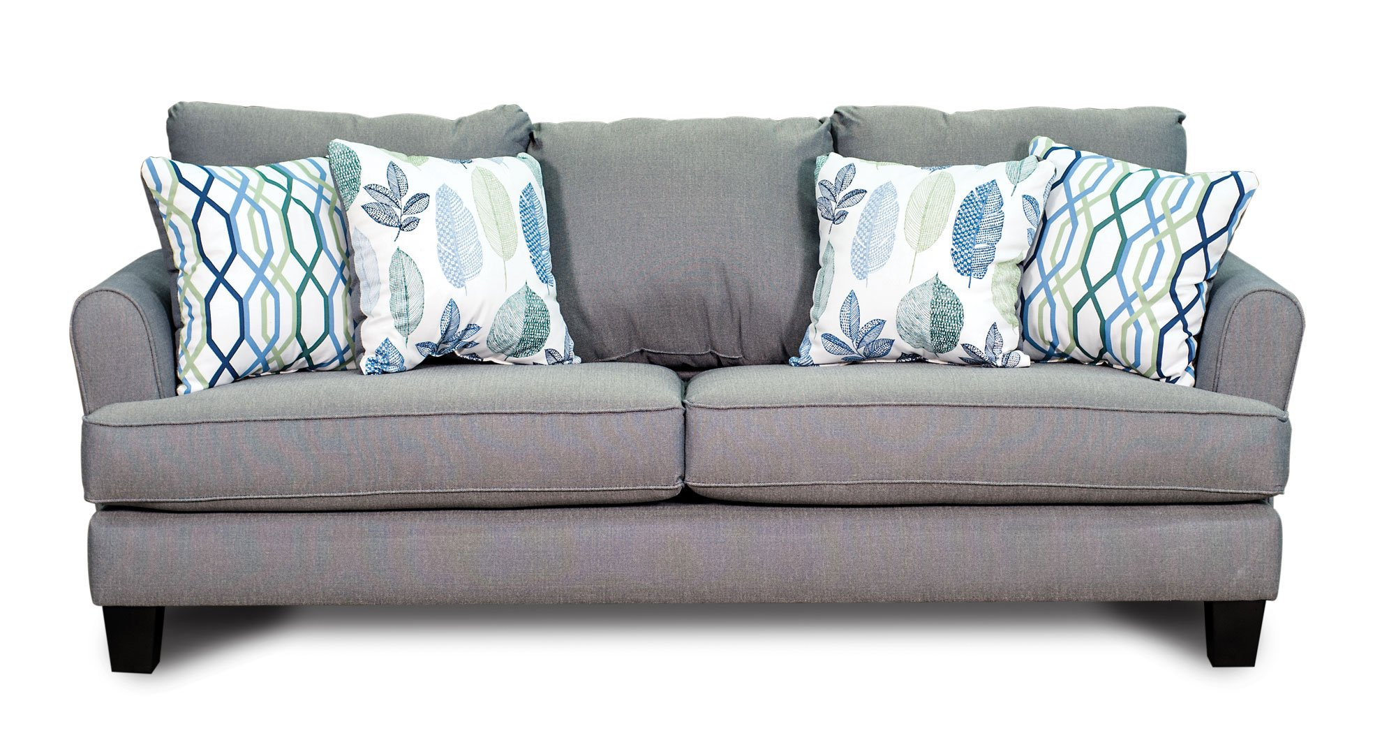 Gray blue upholstered casual contemporary sofa loveseat for Blue grey sofa