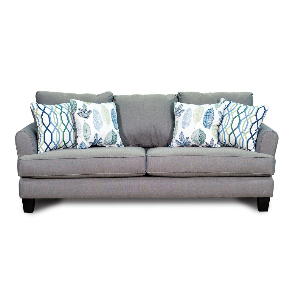 Turquoise sofas loveseats remodelaholic 28 ways to bring for Blue gray sofa