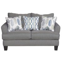 Casual Contemporary Gray-Blue Loveseat - Bryn
