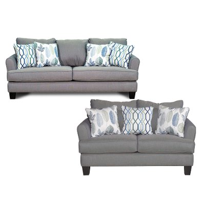 Casual Contemporary Gray Blue 2 Piece Living Room Set   Bryn