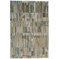 5 x 8 Medium Brown, Gray, Green, and Blue Rug - Muse