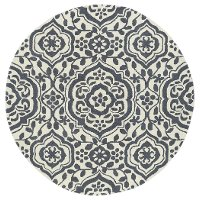 10' Round Charcoal Gray & Ivory Area Rug - Evolution
