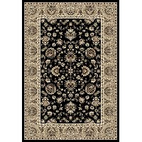 5 x 8 Medium Black, Tan & Burgundy Area Rug - Arabella