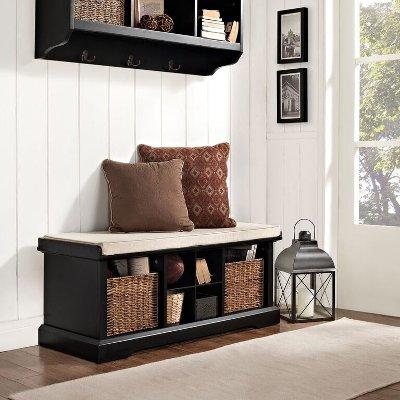 CF6003-BK Black Entryway Storage Bench - Brennan & Black 2 Piece Entryway Bench and Shelf Set - Brennan | RC Willey ...