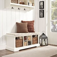 CF6003-WH White Entryway Storage Bench - Brennan