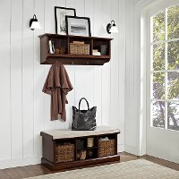 KF60001MA Mahogany 2 Piece Entryway Bench and Shelf Set  - Brennan