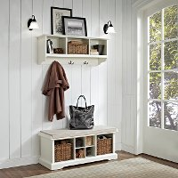 KF60001WH White 2 Piece Entryway Bench and Shelf Set  - Brennan