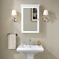 CF7005-WH White Mirrored Wall Bathroom Cabinet - Lydia