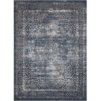 8 x 11 Large Navy Blue, Cream, and Rust Area Rug - Malta