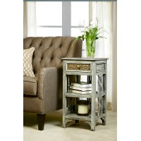 5727-901 Distressed Graywash Accent Table - Alena