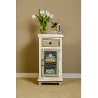 5732-884 Whitewash 1-Drawer/ 1-Door Cabinet with Chicken Wire - Larose