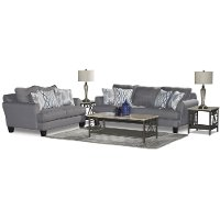 Casual Contemporary Gray-Blue 7 Piece Living Room Set - Bryn