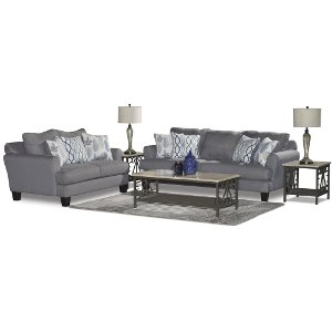 Gray Blue Upholstered Casual Contemporary 7 Piece Room Group