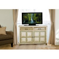 5808-865 Whitewash Console Table with 2-Door Storage - Larose