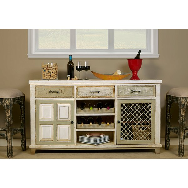 Whitewash Console Table With 2 Doors Wine Rack Larose Rc Willey Furniture