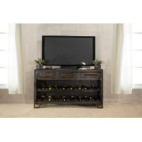 5806-898 Rubbed Black Wood Sofa Table with Wine Rack - Bridgewater