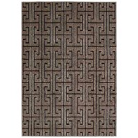 8 x 11 Large Brown and Sparkling Silver Area Rug - Glistening Nights