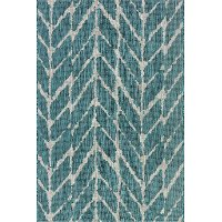 8 x 11 Large Teal & Gray Indoor-Outdoor Rug - Isle