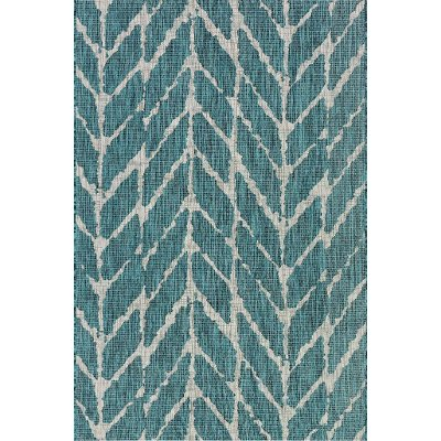 8 X 11 Large Teal U0026 Gray Indoor Outdoor Rug   Isle