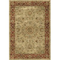 5 x 8 Medium Ivory and Red Area Rug - American Heritage