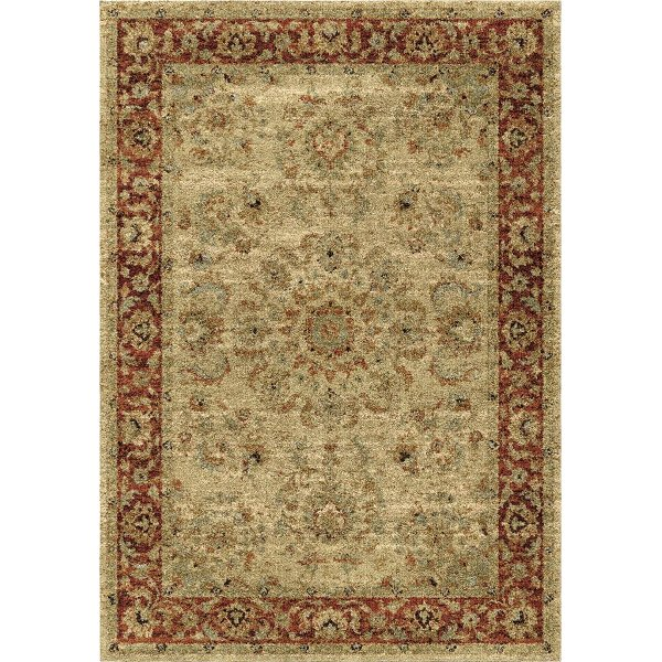 8 X 11 Large Ivory And Red Area Rug American Heritage