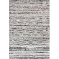 5 x 8 Medium Aegean Gray, Blue, White, and Ivory Indoor-Outdoor Rug - Breeze