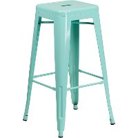 Backless Mint Green Metal Square Seat 30 Inch Bar Stool