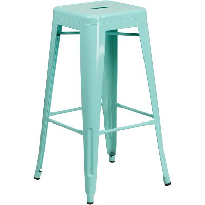 Exceptional Backless Mint Green Metal Square Seat 30 Inch Bar Stool