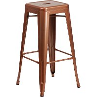 Backless Copper Metal Square Seat 30 Inch Bar Stool
