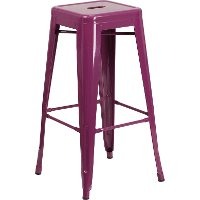 Backless Purple Metal Square Seat 30 Inch Bar Stool