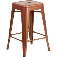 Backless Copper Metal Square Seat 24 Inch Counter Stool