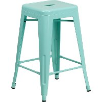 Backless Mint Green Metal 24 Inch Counter Height Stool