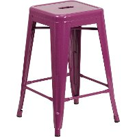 Backless Purple Metal Square Seat 24 Inch Counter Stool